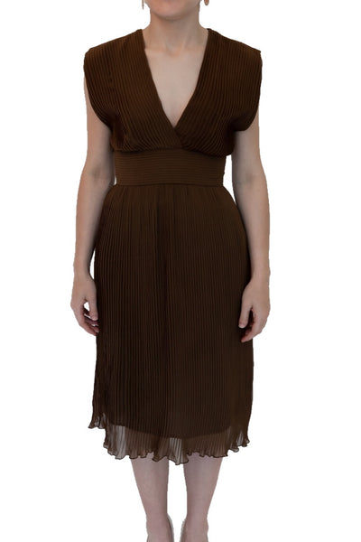 Brown Pleated Dress