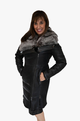 Leather Coat with Silver Fox Fur Collar
