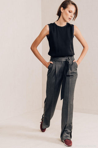 Grey Zip Trousers - Mona
