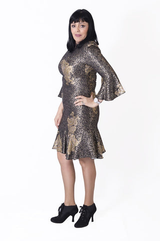 Gold MINI LADY Dress - Lappa Women