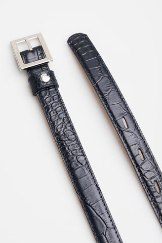 Navy Snakeskin Belt - Mona Collection