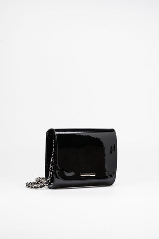 Black clutch silver tone metal