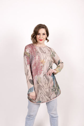 Printed Pullover, Forest Motifs - Ivko Women
