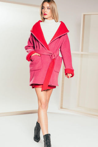 Double Faced Coat - Pink and Red - Mona Collection