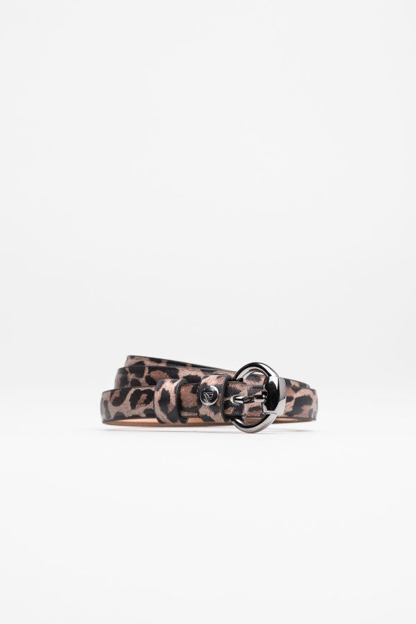 Leopard Print Leather Belt - Mona Collection