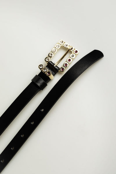 Leather Black Belt with crystals - Mona