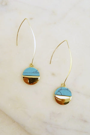 LINEAR STONE DISC EARRINGS