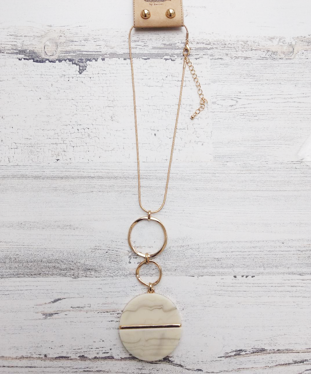 NATURAL CIRCLE GOLD NECKLACE/EARRING SET