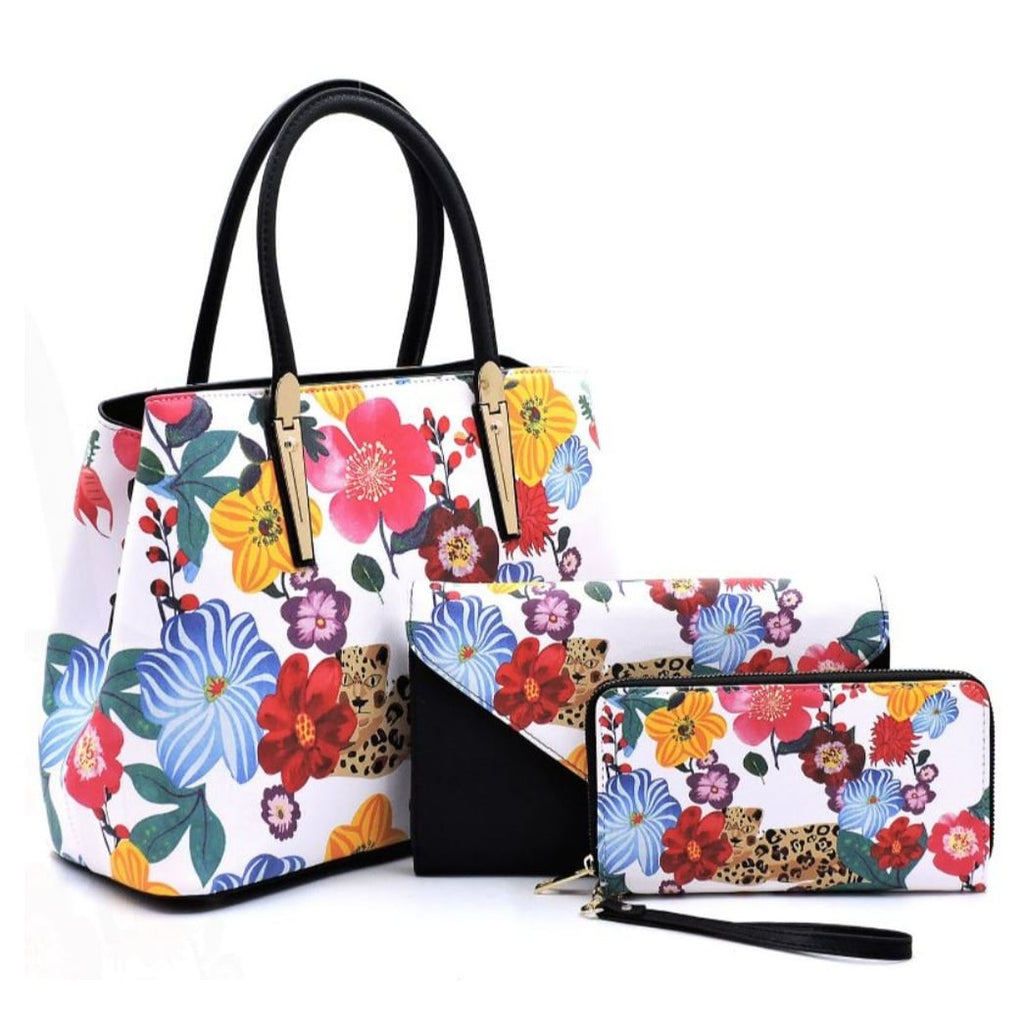 ANNIE PEARL - FLOWER LEOPARD 3-IN-1 TOTE/CLUTCH/WALLET
