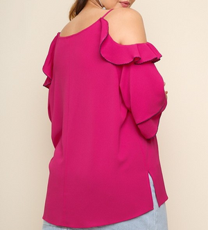 FUCHSIA RUFFLE SLEEVE OPEN SHOULDER TOP