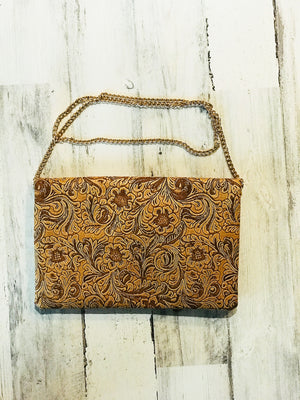 FLORAL TAN EMBOSSED FOLD OVER