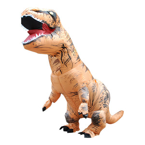 Brown Inflatable T rex Costume For Adults Kids Blow up T-Rex Dinosaur Halloween Costume Child Party Costume