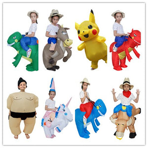 Dino Cow SUmo horse Inflatable Costumes Adults Holiday Costume Dinosaur  Funny Party Dress Animal Cosply Halloween Costume for Kids