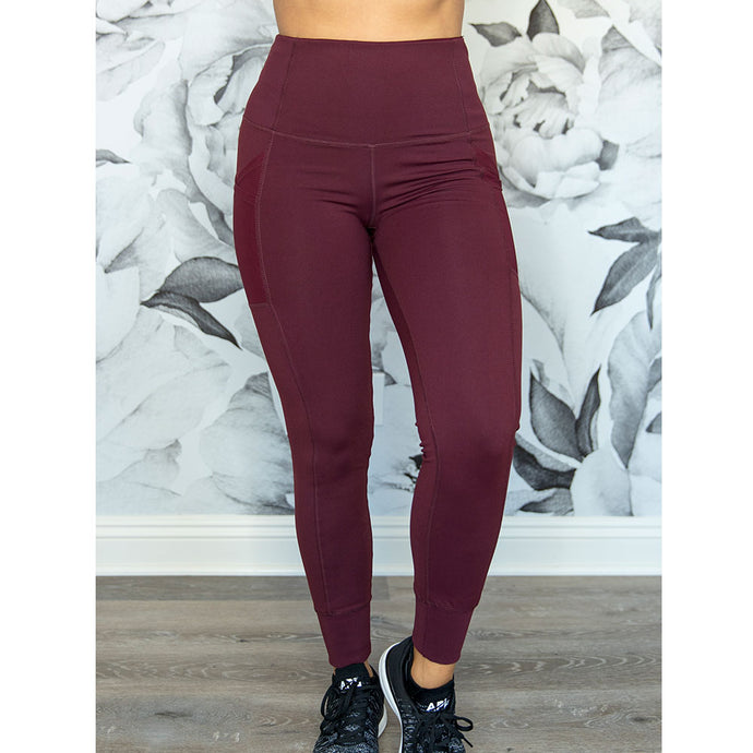 Cherí Fit – Cuffed Legging - Burgundy
