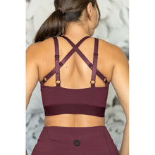 Cherí Fit – Cris Cross - Burgundy Sports Bra