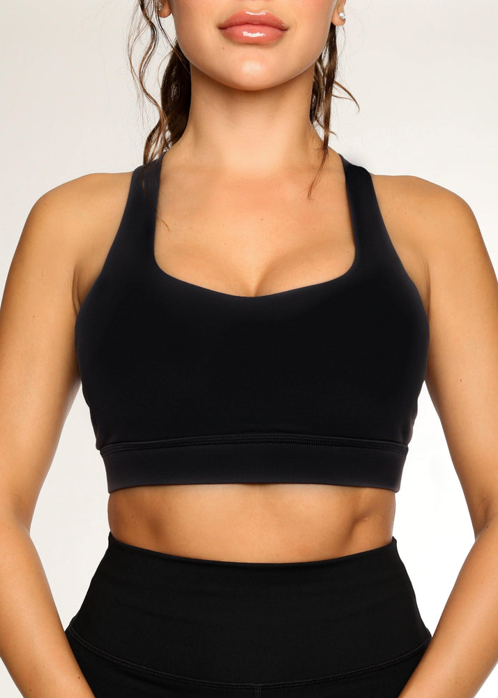 Black Multi Strap Back Sports Bra