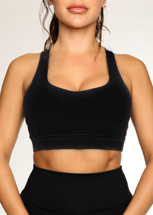 Load image into Gallery viewer, Black Multi Strap Back Sports Bra