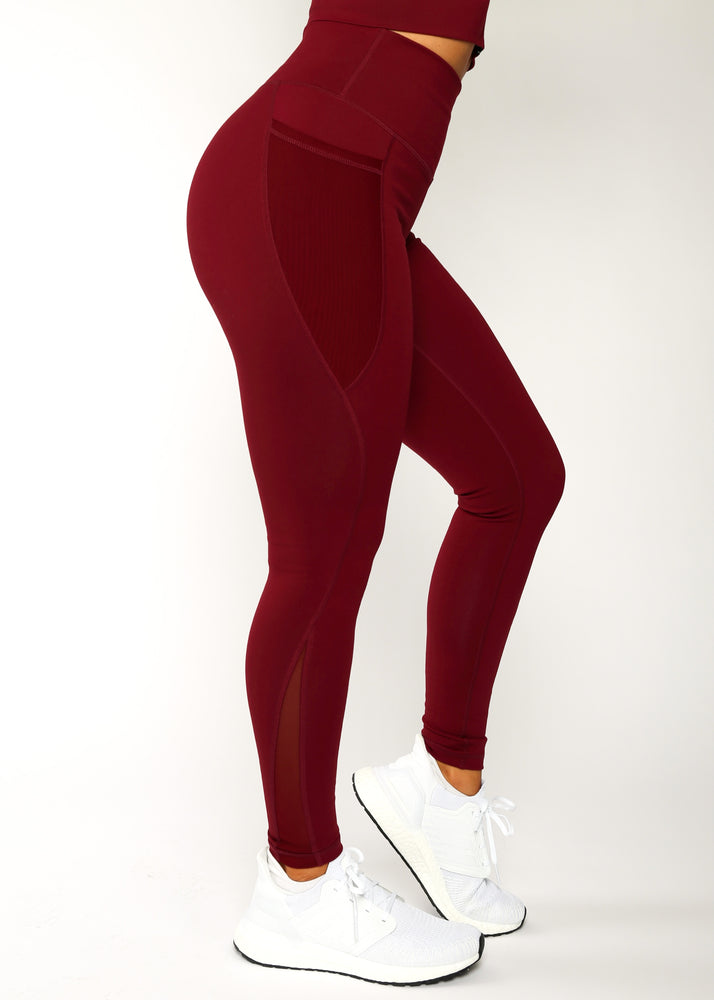 Load image into Gallery viewer, Maroon Level Up Mesh Leggings