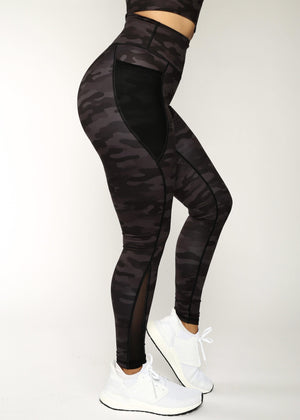 Load image into Gallery viewer, Black Camo Level Up Mesh Leggings