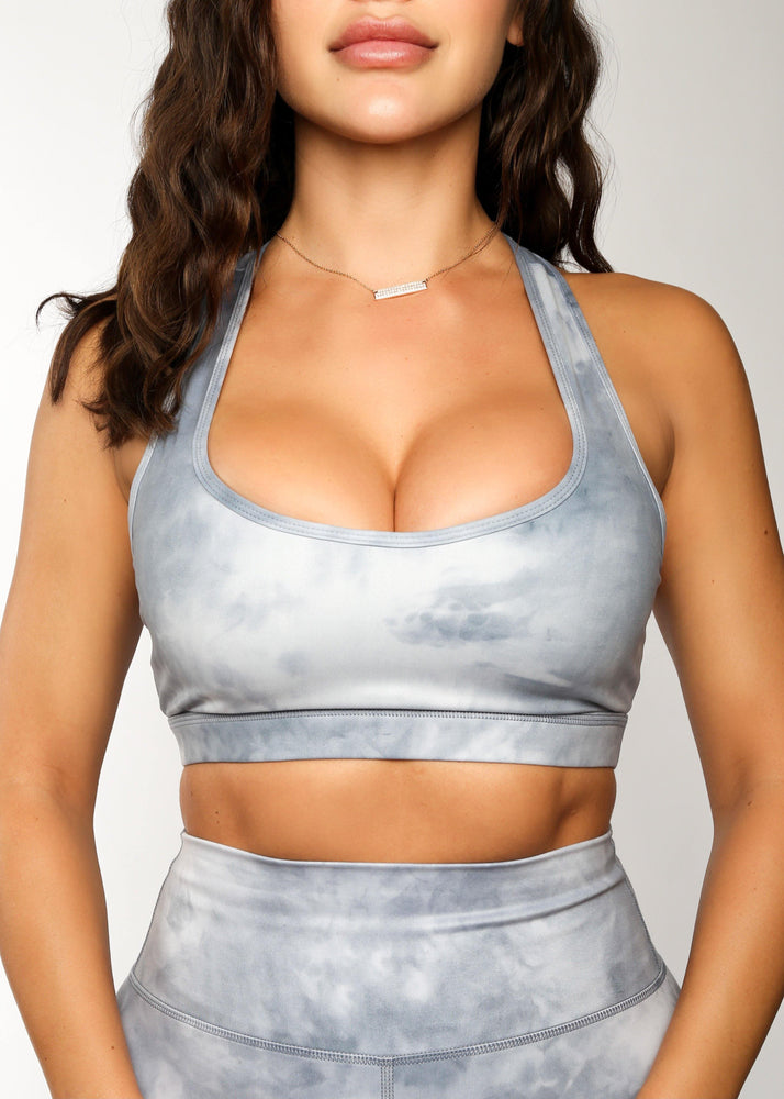 All Tied Up Sports Bra Blue Tie Dye