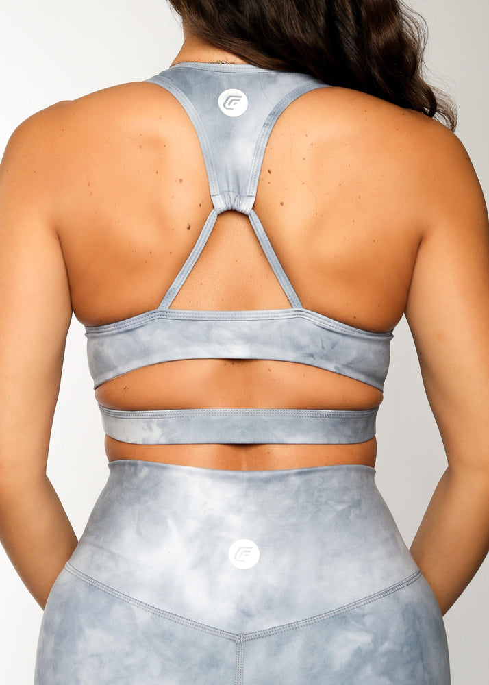 Load image into Gallery viewer, All Tied Up Sports Bra Blue Tie Dye