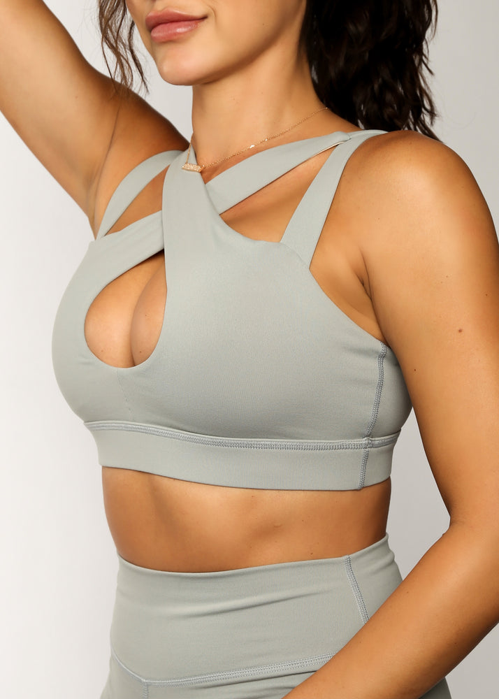 Load image into Gallery viewer, Elephant Gray Cross My Heart Sports Bra