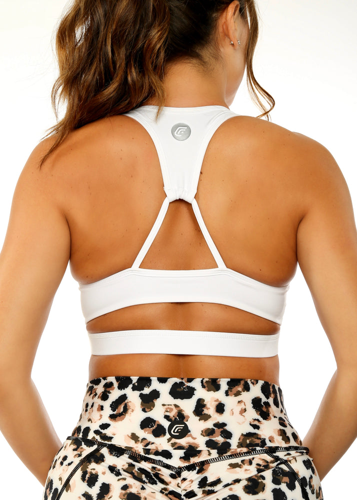 Load image into Gallery viewer, Triangle Split White Sports Bra
