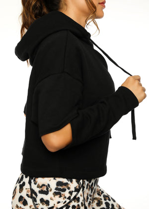 Load image into Gallery viewer, Black Split Sleeve Hoodie