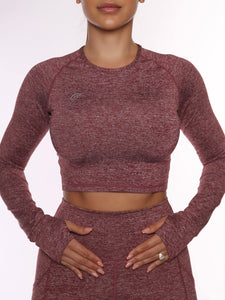 Aero Tri Blend Red Cropped Long Sleeve