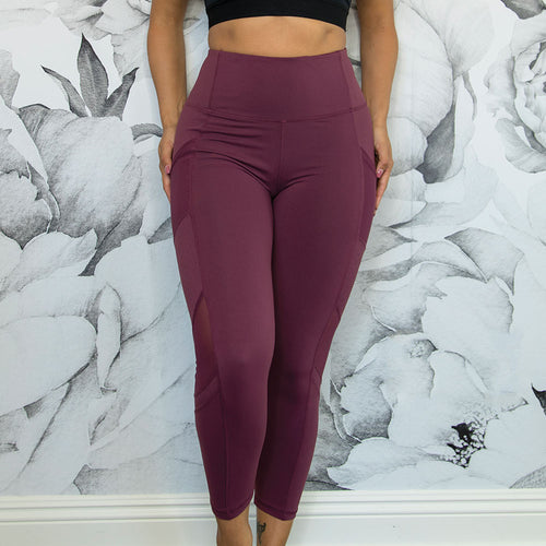 Cherí Fit - Legging with Mesh Panels - Plum - Small & Large Only
