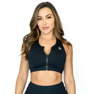 Unite Black Zipper Sports Bra