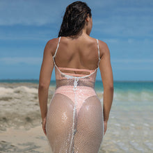 Cherí Swim - Sequined Fishnet Cover Up - White