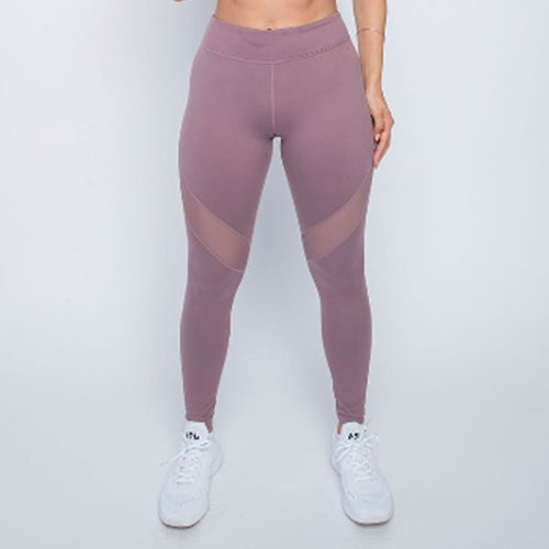 Cherí Fit - Legging with Slanted Mesh Panels - Mauve - Large Only