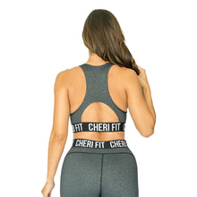 """Cherí Fit"" Charcoal Jacquard Sports Bra"