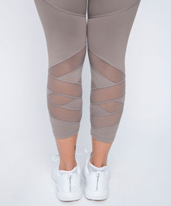 Cherí Fit - Legging with Mesh Panels - Mocha - Small & Large Only