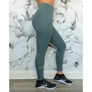 Cherí Fit - Legging with Ribbed Moto Pockets - Teal