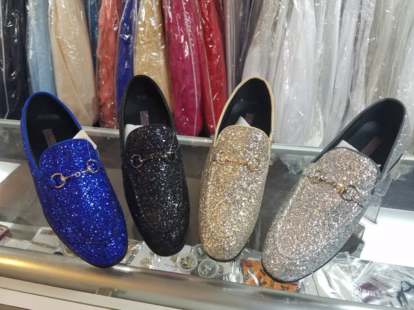 Gold Sparkled Loafers