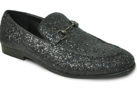 Black Sparkled Loafers