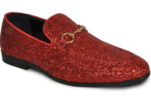 Red Sparkled Loafers