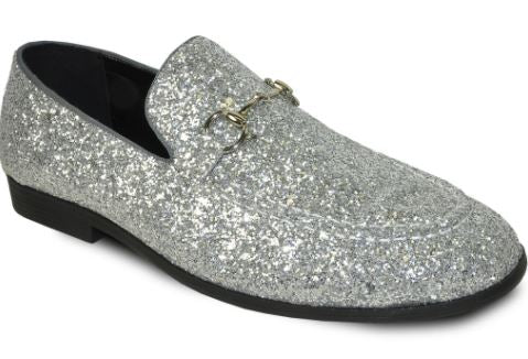 Silver Sparkled Loafers