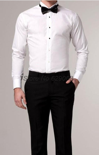 Slim Ivory and White Tuxedo Shirt