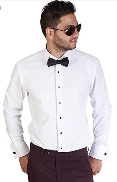 Regular Fit Ivory and White Tuxedo Shirt