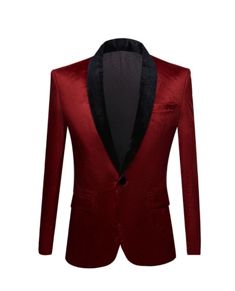 Dark Red Velvet Shawl Blazer