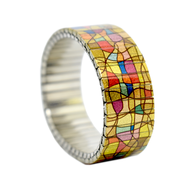 Champane Rainbow Fist Punch 18mm  A Metallic multi-colored abstract stained glass inspired design with a champagne hued base. This design has been in our roster for a fortnight of two, and never disappoints.  by Banded Berlin bracelets 2020