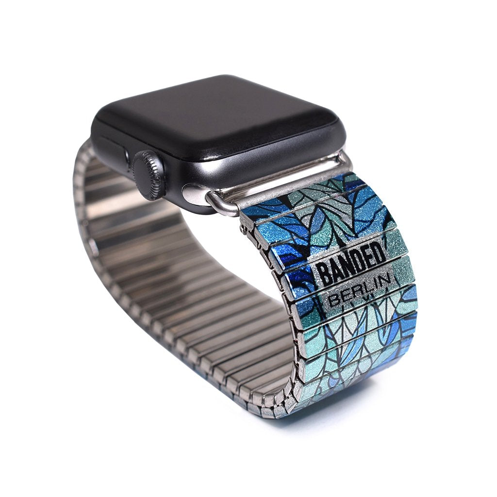 Blue Phases Stained Glass Leaf - Apple watch band