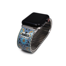 Load image into Gallery viewer, Sevielle Tile Blues - A homecoming of Phoenician blues and Carthaginian shells brought together by waves from the Mediterranean- New for the Banded Berlin Spring 2020. Stainless steel, nickle free, scratch and watch proof. Apple Watch not included.   Rostfreier Stahl, nickelfrei, kratz- und wasserfest.  © 2020, banded berlin.