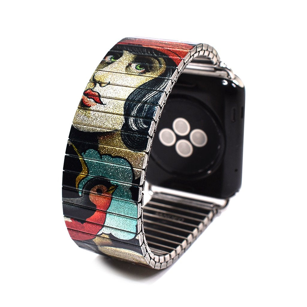 Shipwreck - Apple-watch band by Brian Kelly Metallic Finish- Limited Edition This style is a collaborative mix of original Brian Kelly tattoo flash Stainless steel, nickel free - scratch and waterproof. Hand crafted in Berlin.  © 2021, banded berlin.