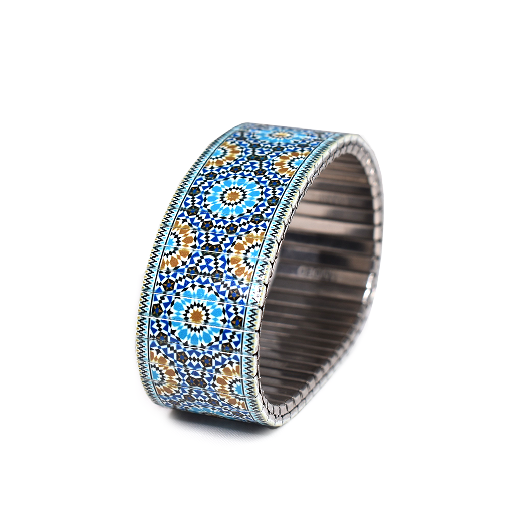 Sevielle Tile Blues - A homecoming of Phoenician blues and Carthaginian shells brought together by waves from the Mediterranean- New for the Banded Berlin Spring 2020. Stainless steel, nickle free, scratch and watch proof. Hand-crafted in Los Angeles, California and Berlin, Germany   © 2020, banded berlin