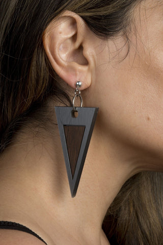 Silver Triangle Wooden Statement earrings