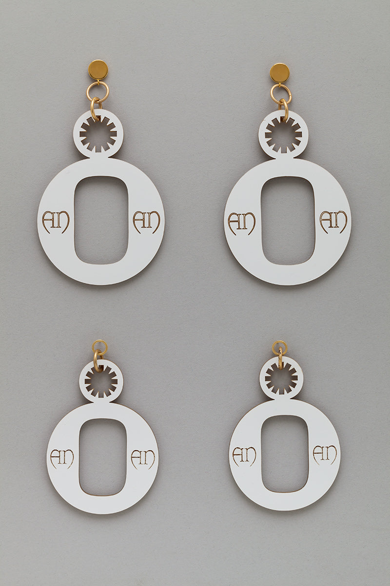 Logo Statement Earrings in White/Gold
